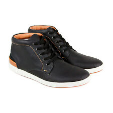 Steve Madden Fractal Mens Black Leather High Top Lace Up Sneakers Shoes