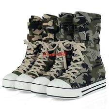 New Womens winter fur lined Shoes Girls Army camo Boots Lace Up Mid Calf Boots