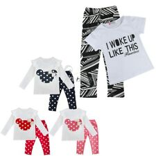 2 PCS Baby Kids Girls Minnie Toddler Outfit Sets Polka Dots Pants Casual Clothes