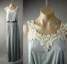 Gray Crochet Bib Collar Boho Goddess Jersey Knit Long Maxi 229 mv Dress S M L