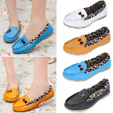 Womens Slip On Casual Loafer Moccasins Bowknot Leopard Ballet Flat Shoes Pumps