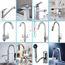 LED Pull Out Tap Spray Spout Swivel Kitchen Mixer Faucet Bathroom Hand Held Taps