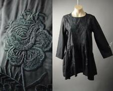 Black Floral Embroidery Flounce Peplum Babydoll Sack Top Blouse 237 Tunic S M L