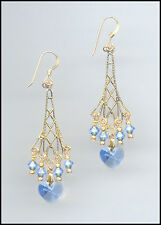 Sparkling Gold Earrings with Swarovski LIGHT BLUE Crystal Hearts