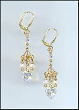 Tiny Gold Earrings with Swarovski AURORA Crystal Hearts GIFT BOXED