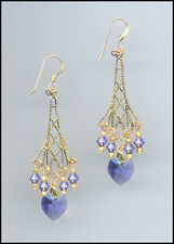 Sparkling Gold Earrings with Swarovski TANZANITE PURPLE Crystal Hearts