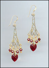 Sparkling Gold Earrings with Swarovski SIAM, RUBY RED Crystal Hearts