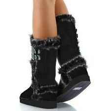 Black Suede Fur Mid-calf Boots Buckle Eskimo Women's Flat shoes Qupid Oakley-92