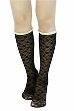 Icon Collection Women's One Size Lace Knee-high Boot Socks