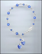 Beautiful Sterling Charm Bracelet w/ Swarovski SAPPHIRE BLUE Crystal Hearts