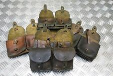 Genuine Vintage Military Issued Rare Double Leather Ammo / Utility Pouch Used
