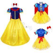 Women Lady Girl Halloween Cosplay Snow White Fancy Dress & Hairband Cape Costume