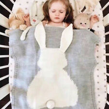 Baby Cute Blanket Swaddle Toddler Rabbit Warm Plush Knit Sleeping Quilt Cot