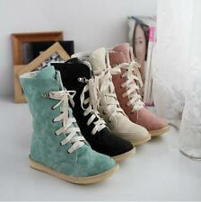Womens Faux Suede snow Lace Up Winter Warm fur lined Thicken Ankle Boots Shoes