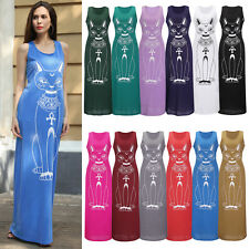 New Ladies Sleeveless Cats Print Bodycon Casual Beach Evening Party Maxi Dress