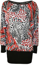 New Womens Plus Size Black Red Print Long Batwing Sleeve Ladies Tunic Top 14-28