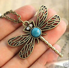 new!Vintage Bronze Pretty Dragonfly Nature Stone Pendant Long Necklace