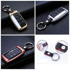Key Cover For Land Rover Key Fob Aluminum Metal Genuine Leather Wrap Key Case
