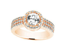Natural 1.30Ct Round Cut Diamond 3Row Halo Engagement Ring Solid 18k Gold G SI1