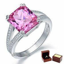 6 Ct Radiant Pink Lab Created Diamond 925 Sterling Silver Wedding Bridal Ring