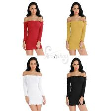 Women Lady Long Sleeve Knitted Off Shoulder Bodycon Cocktail Evening Party Dress