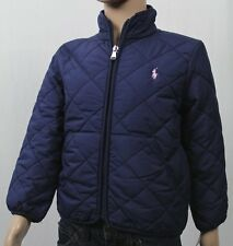 Polo Ralph Lauren Navy Blue Quilted Coat Jacket Pink Pony NWT $110
