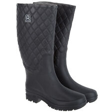 Rouchette Womens Quilted Wellington Boots - Black Wellies - Various Sizes