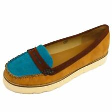 WOMENS TAN DOLCIS FLAT SLIP-ON MOCCASIN LOAFER DOLLY PUMP DECK SHOES SIZES 3-8