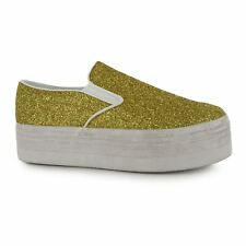 Jeffrey Campbell Play Glitter Platform Shoes Womens Gold Trainers Sneakers