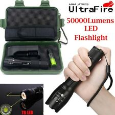 Tactical 50000LM XM-L T6 LED Flashlight Zoomable Torch Lamp Light+18650+Charger