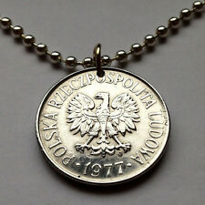 Poland 50 Groszy coin pendant white Polish EAGLE Polska necklace Warsaw n001493