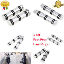 Silver Foot Pegs Handlebar Hand Grips fit Harley Softail Dyna Fat Boy Sportster
