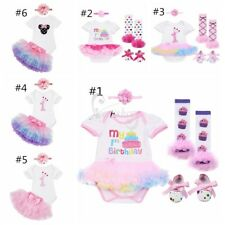 Baby Girls Toddler 1st Birthday Party Tutu Dress Romper Headband Outfit Clothes