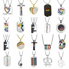 Lesbian Gay Gender Symbol Stainless Steel LGBT Pride Pendant Chain Necklace Gift
