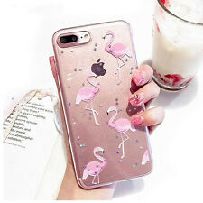 New Flamingo Clear Bling Star hard Back Cover Phone Case iPhone 6 6S 7 Plus
