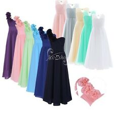 Flower Girl Long Chiffon Dress Lace Cut Out Back Party Bridesmaid Prom Ball Gown