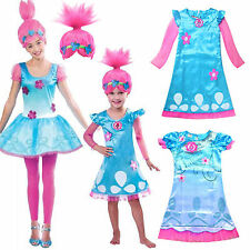 Toddler Kids Girls Wig Trolls Poppy Fancy Dress Costume Cosplay Party Outfit US