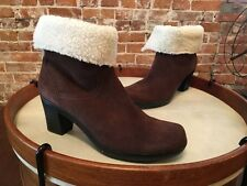 Clarks Dream Darling Brown Suede Fur Cuff Ankle Boots New