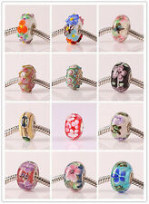 2pcs SILVER High Quality GLASS BEAD LAMPWORK Fit European Charm Bracelet