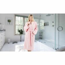 Authentic Hotel and Spa Unisex Pink Turkish Cotton Terry Bath Robe with White