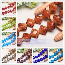 10pcs 17mm Big Rhombus Lampwork Glass Loose Spacer Beads Charms Jewelry Findings