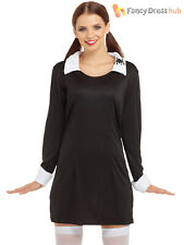 Ladies Creepy School Girl Costume Adults Halloween Gothic Fancy Dress Outfit