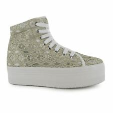 Jeffrey Campbell Play hOMG Platform Shoes Womens White/Grey Trainers Sneakers