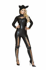 Sexy 2 Pc Womens Lace Up Frisky Cat Catsuit & Hood w/ Ears Halloween Costume Set