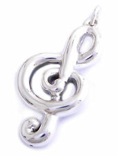 Music Note Treble Clef 92.5 Sterling Silver Charm Necklace Pendent Jewelry