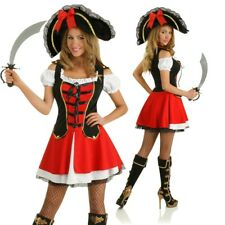 Ladies Admiral Caribbean Pirate Costume Fancy Dress Halloween Party Outfit + Hat