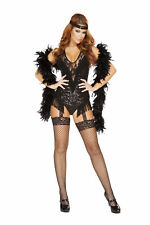 Sexy 2 Pc Womens 1920's Black Sequin Flapper Fringe Romper Halloween Costume Set