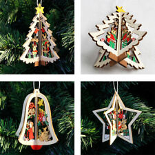 3D Wooden Xmas Tree Star Bell Ornaments Hanging Home Party Christmas Decoration
