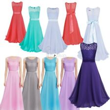 Pageant Wedding Flower Girl Lace Dress Kids Birthday Party Formal Prom Ball Gown