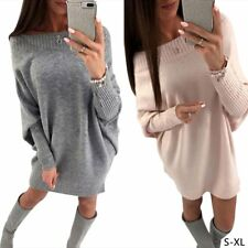 Women Off Shoulder Loose Knit Mini Dress Bodycon Pullover Batwing Sleeve Sweater